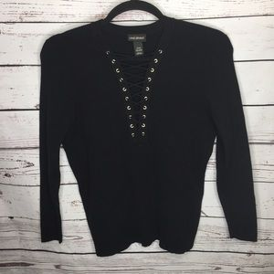 Lane Bryant 18/20 black lace up shirt